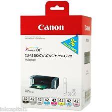 Canon Original OEM CLI-42 8 x Inkjet Cartridges BK, GY, LGY, C, M, Y, PC, PM