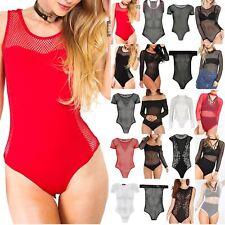 Ladies Womens Side Fishnet Meshnet Sleeveless Stretch Leotard Bodysuit Tee Top