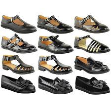 Girls School Shoes Black Flat Dolly Ballet Geek Pumps Loafers Work Office Size