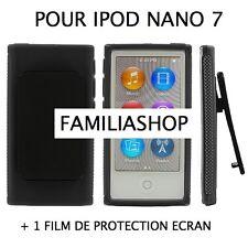 Housse etui coque silicone noir avec Clip pour iPod Nano 7 7G  + Film protection