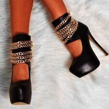 Womens Round Toe Stiletto Platform Prom Super High Heels Strappy Nightclub Shoes