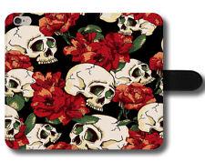 Patrón De Flores Rosas Rojas Calavera Punk Indie Gótico Cool Cuero Teléfono Estuche Cubierta