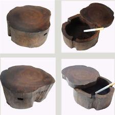 Retro Vintage Natural Wood Smoking Ashtray Pipe Holder Smoker Creative Gift Yun