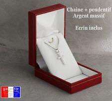 Pendentif petite croix en argent massif avec fx diamants neuf avec/sans chaine