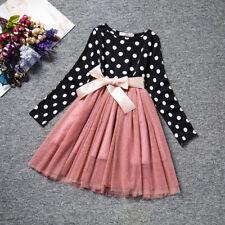 Kids Girl Princess Long Sleeve Fancy Dress Party Pageant Tulle Tutu Dress ZG8