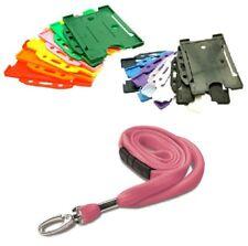 PINK Tubular Fabric Safety Breakaway Neck Lanyard with ID Card Badge Holder