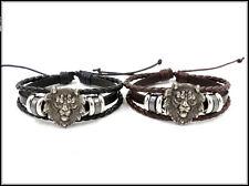 Mens Womens Multilayer Leather Cuff Lion head Bangle Bracelet Wristband #B237