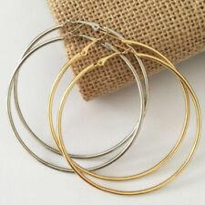 Spring Silver CLIP ON Fake Piercing EXTRA LARGE Hoop Rings Earrings 7cm 10cmm