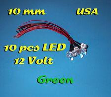 10 pcs LED - 10mm GREEN - PRE WIRED LEDS 12 VOLT 12V PREWIRED USA