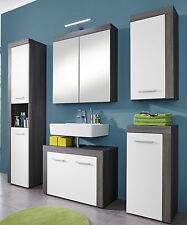 Badmöbel Set in weiß Sardegna grau 5-teilig mit Hochschrank Spiegelschrank Miami