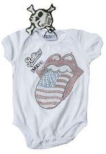 50/56 AMPLIFIED ROLLING STONES USA STRASS Mädchen Junge Baby Body RockStar Shirt