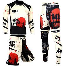 ROAR Mens Samurai No Gi Wear Set MMA BJJ Rash Guards & Shorts UFC Fighting Spats