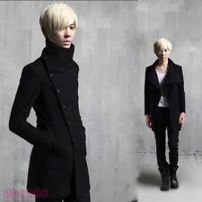 Korean Fashion Men Fall Winter Coat Jacket Button Wool Blend Windbreaker Outwear