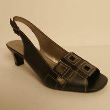 Lotus Zanchi Pelle Da Donna Tacco Medio Sandali Con Cinturino Blu Navy