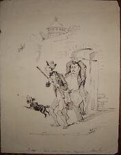 1850-COMICA SCENA D CACCIA-PERSONAGGI-DISEGNO A CHINA ORIGINALE