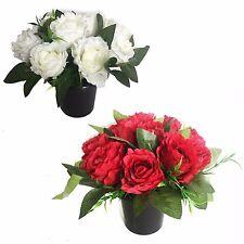 Artificial Crushed Rose Grave Side Flower Crem Pots / Vase Memorial Red & White