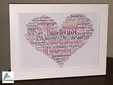 Engagement personalised word art heart keepsake unique print / print & frame