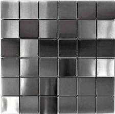Edelstahlmosaik gebürstet Metallmosaik Fliesenspiegel Küche Spritzschutz 129-48D