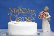 PERSONALISED  Mr & Mrs Glitter acrylic wedding cake topper