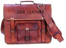 """17"""" Men's Proud Genuine Leather Messenger Shoulder Laptop Case Briefcase Bag"""