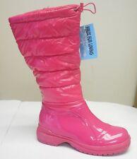 De Blossom Womens Malak-1 Fuchsia Nylon Waterproof Patent Faux Leather Rain Boot