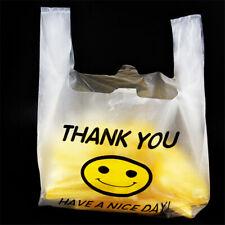 "Black Thank-You PlasticT-shirt Shopping Bags with Handles11.5/""x6.5/""x21/"" Lot 200"