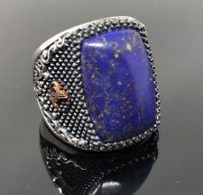 Unique 925 Sterling Silver LAPIS Stone Fligree Ottoman Men's Ring US Seller K53B