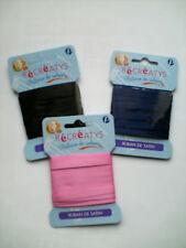 1 carte 3 mètres ruban satin double face 6 mm rose, bleu marine, noir au choix !