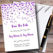 Corazón púrpura Confeti Personalizado De Boda Save The Date Tarjetas