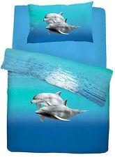 Dolphin Pattern Aqua Blue Duvet Quilt Cover Bedding Set Single or Double Size
