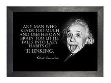 Pensamiento Albert Einstein Gracioso Cotización De inspiración Blanco Negro Foto Nobel de cartel
