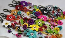 Cute Genuine Leather Keychain Key Ring Purse Decor Flower Handcraft Charm Women
