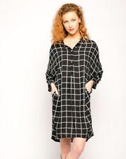 Black white check print cotton oversize shirt dress casual style