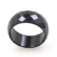 Bague alliance anneau Hématite noire facettée 10 mm