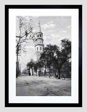ST MICHAELS CHURCH CHARLESTON SC 1900 OLD BW BLACK FRAMED ART PRINT B12X996