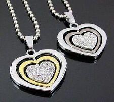 Edelstahl Herzkette Herz Kette Halskette Strass schwarz oder gold -farbig