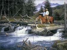 Ceramic Tile Mural Backsplash Sorenson Western Art Cowboys River RW-JS015