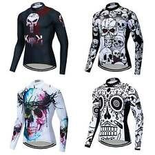Men's Skull Cycling Jersey Long Sleeve Bike Clothing Bicycle Shirt Tops S-5XL