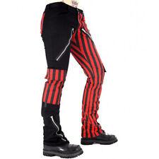 Black Pistol Punk Gothic Festival Jeans Hose - Freak Pants Rot gestreift