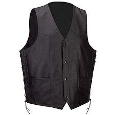 Mens Black Leather Classic4 Snap Biker Vest /Concealed,Gun Pocket FREE SHIPPING