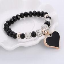 Womens Heart Charm Bracelets Stretchable Bangle Shamballa Birthday Gift Box
