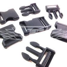 BLACK PLASTIC SIDE RELEASE BUCKLES, CLIPS SLIDERS WEBBING 25mm, BUCKLE DELRIN