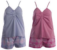 Pyjamas Set Ladies Slenderella Plain Spaghetti Strap Jersey Top Tartan Shorts