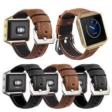 Genuine Leather Watch Band Wrist Strap Bracelet+ Metal Frame For Fitbit Blaze