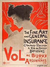 PLAQUE ALU DECO THE FINE ART VOL DE BIJOUX ARGENTERIES BRUXELLES ASSURANCE