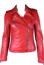UNICORN Damen Mode Taillierte Denim Echtleder Jacke - Gewachste Rot #GJ