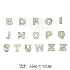 925 Sterling Silver Alphabet Letters CZ Slide Charms fits on 6mm SLIDE Bracelets