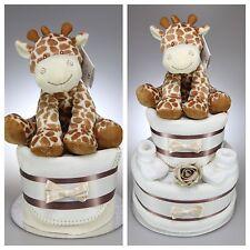 UNISEX BOY GIRL NAPPY CAKE WITH GIRAFFE NEWBORN BABY SHOWER GIFT MATERNITY LEAVE