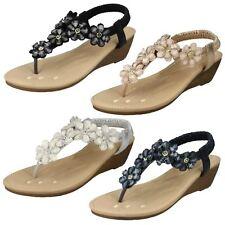 Ladies Savannah Mid Wedge Toepost 'Sandals'
