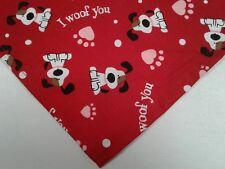 Dog Bandana Red Tie On Valentine Hearts Paw Prints Custom Made by Linda XS S M L